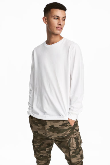 Long-sleeved top - White - Men | H&M GB