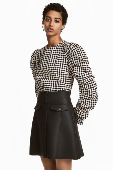 Blouse with studs - White/Black checked - Ladies | H&M