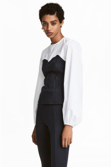 Patterned blouse - White/Pinstriped - Ladies | H&M