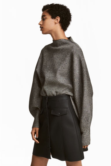 Wide jumper - Black/Glitter -  | H&M