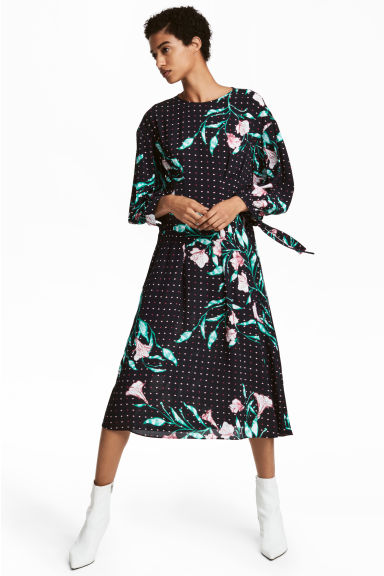 Patterned dress - Black/Floral -  | H&M