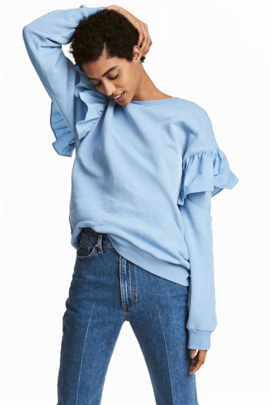Sweat-shirt à volants - Bleu clair - FEMME | H&M BE