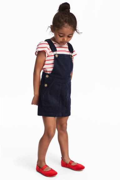 Corduroy dungaree dress - Dark blue - Kids | H&M
