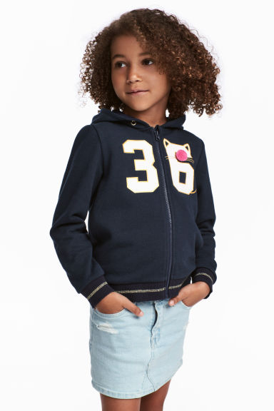 Patterned hooded jacket - Dark blue - Kids | H&M CN