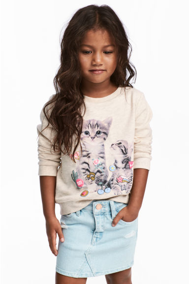 Sweatshirt - Light beige/Cat - Kids | H&M