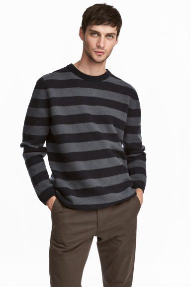 Wool-blend jumper - Dark blue/Grey striped -  | H&M