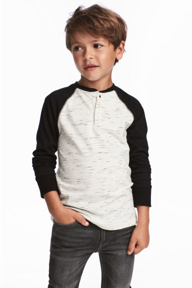 Henley top - Natural white/Black marl - Kids | H&M