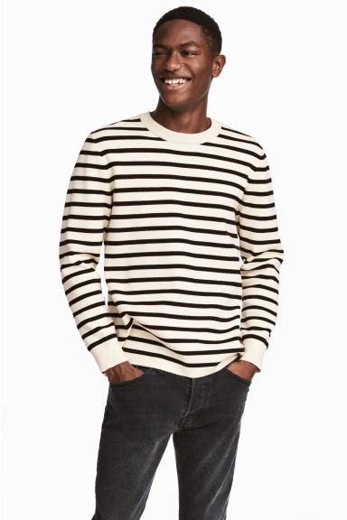 Fine-knit cotton-blend jumper - Natural white/Black striped - Men | H&M CN