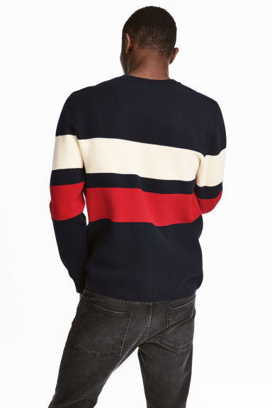 Fine-knit cotton-blend jumper - Dark blue/Striped -  | H&M CN