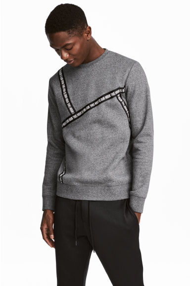 Sweatshirt with grosgrain - Grey marl - Men | H&M IE