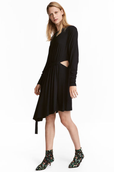 Tie-detail dress - Black - Ladies | H&M CN