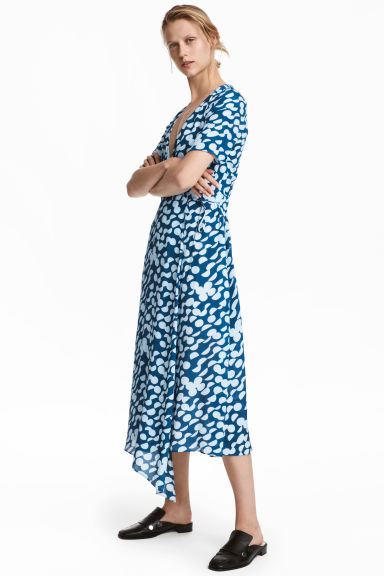 Silk-blend wrap dress - Blue/Patterned - Ladies | H&M CN