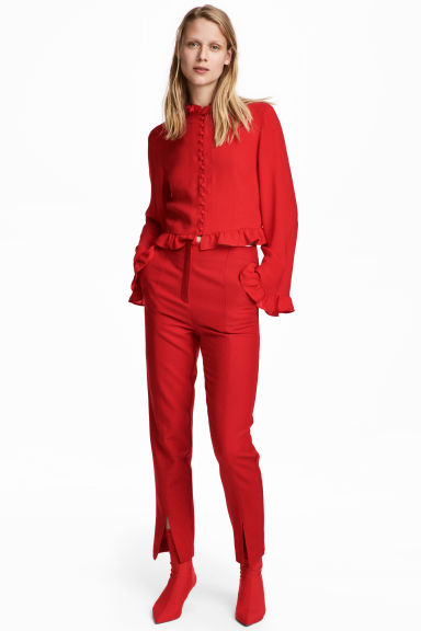 Wool-blend trousers - Red - Ladies | H&M