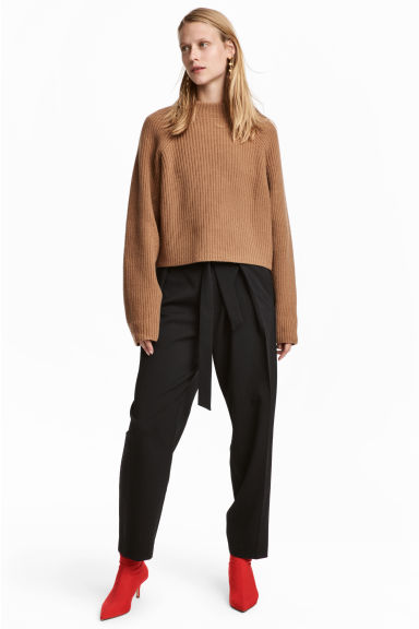 Trousers with a tie belt - Black - Ladies | H&M CN