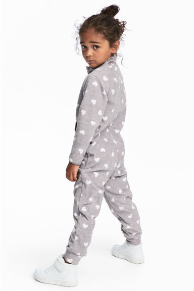 Fleece all-in-one suit - Light grey/Hearts -  | H&M CN