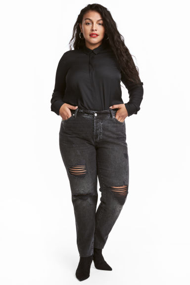 H&M+ Vintage Cropped Jeans - Black/Trashed - Ladies | H&M