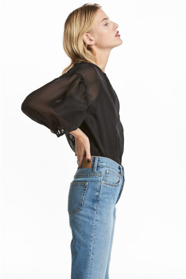 Sheer blouse - Black -  | H&M CN