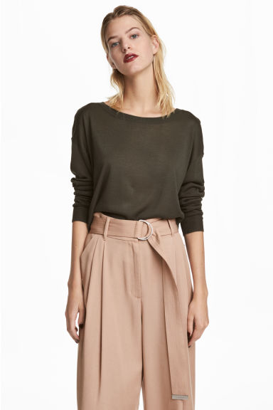 Fine-knit jumper - Dark khaki green - Ladies | H&M CN