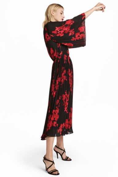 Chiffon dress - Black/Red floral -  | H&M