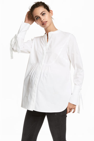 MAMA Cotton blouse - White -  | H&M CN