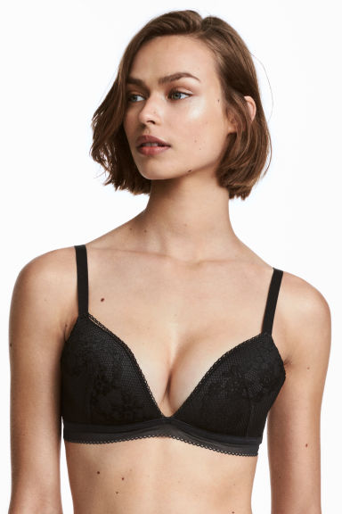 Non-wired push-up bralette - Black -  | H&M CN