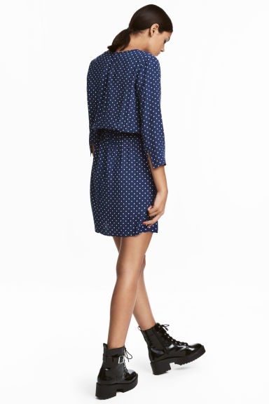 Short dress - Dark blue/Spotted -  | H&M