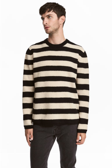 Wool-blend jumper - White/Black striped - Men | H&M