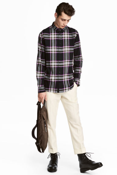Checked cotton flannel shirt - Black/White checked -  | H&M