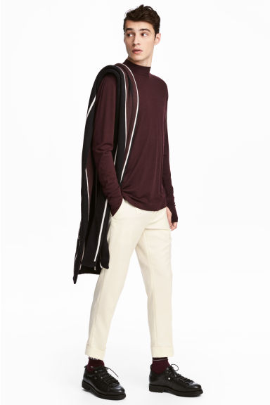 Long-sleeved wool top - Burgundy - Men | H&M GB