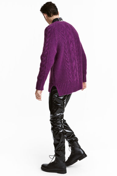 Cable-knit jumper - Purple -  | H&M IE