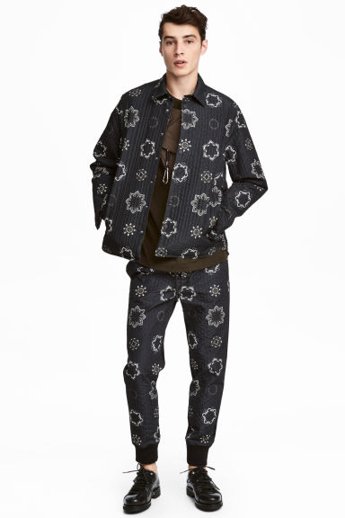 Quilted shirt jacket - Black/Patterned - Men | H&M GB