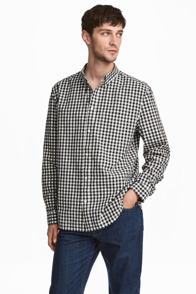 Cotton shirt Regular fit - White/Black checked - Men | H&M GB