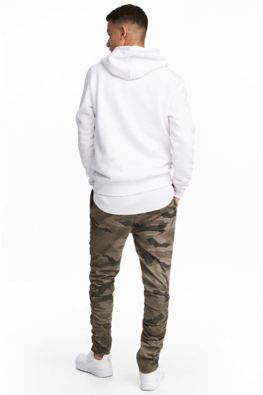 Cotton twill joggers - Khaki/Patterned -  | H&M