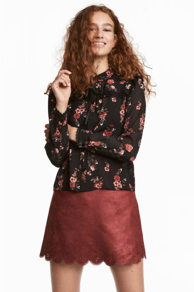 Blouse with ties - Black - Ladies | H&M