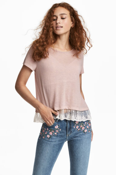 Top with a lace trim - Old rose -  | H&M CN