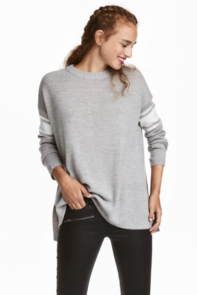 Knitted jumper - Light grey marl -  | H&M