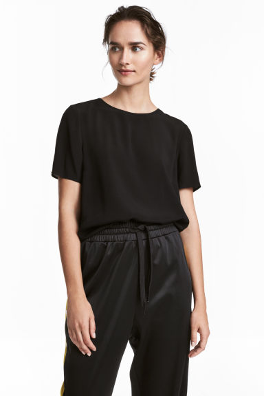 Short-sleeved blouse - Black - Ladies | H&M