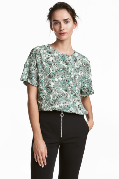 Crêpe top - White/Paisley -  | H&M