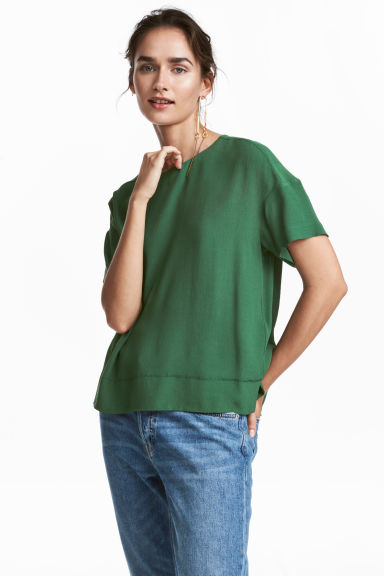 Crêpe top - Green -  | H&M GB