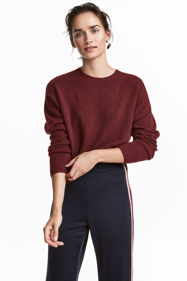 7f877c91c82 Fine-knit Sweater - Burgundy - Ladies