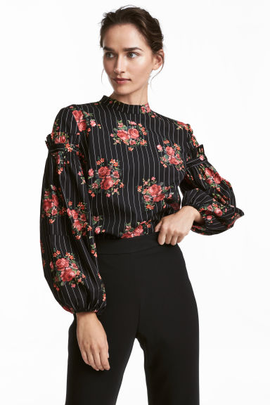 Cotton balloon-sleeve blouse - Black/Floral - Ladies | H&M GB