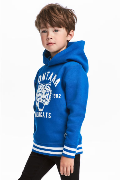 Printed hooded top - Bright blue -  | H&M IE