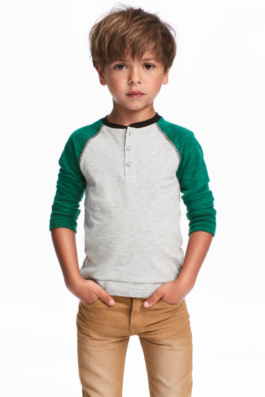 Henley top - Green/Grey marl - Kids | H&M