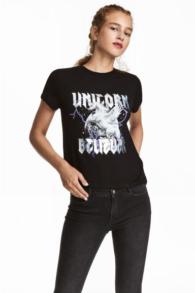Jersey top with a motif - Black/Unicorn -  | H&M