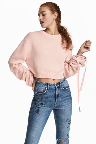 Jumper with a drawstring - Powder pink -  | H&M CN