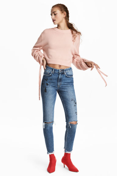 Mom Jeans Trashed - Denim blue/Stars - Ladies | H&M CN