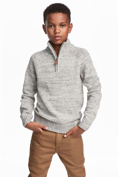 Knitted jumper with a collar - Grey marl -  | H&M
