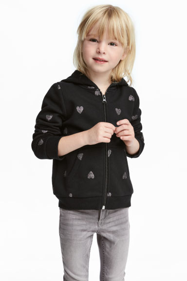 Hooded jacket - Black/Glittery hearts - Kids | H&M IE