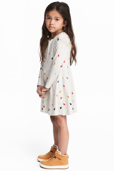 Jersey dress - Light grey/Raindrops -  | H&M