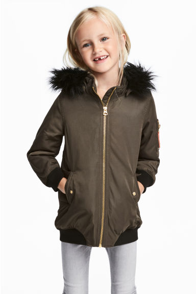 Long bomber jacket - Khaki green -  | H&M CN